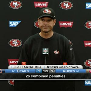 Harbaugh expresses frustration in loss to Bears
