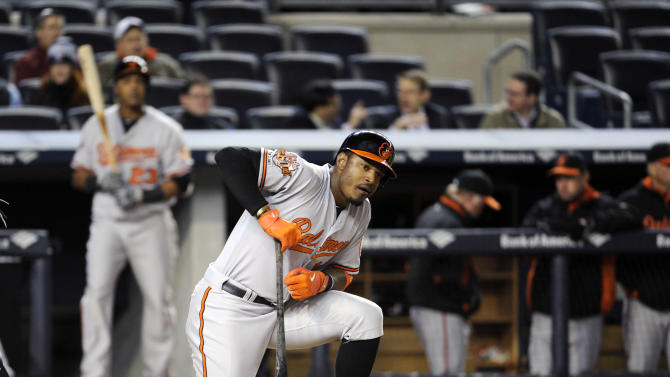 Baltimore Orioles' Adam Jones reacts after striking out during the ninth inning of a baseball game against the New York Yankees Wednesday, April 9, 2014, at Yankee Stadium in New York. (AP Photo/Bill Kostroun)