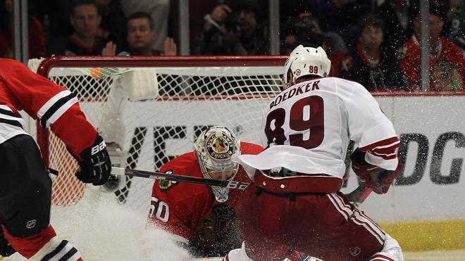 Mikkel Boedker #89 Of The Phoenix Coyotes Scores The Game-winning Goal In Overtime Against Corey Crawford #50 Of The Getty Images