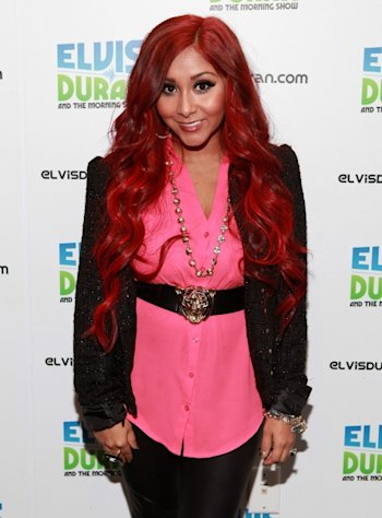 Red alert! Nicole &#39;Snooki&#39; Polizzi shows off her new color while visiting the Z100 Studio in New York City on November 15, 2012  -- Getty Premium