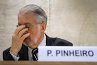 "<p>Paulo Sergio Pinheiro -- the head of the United Nations' Independent Commission of Inquiry on Syria -- attends a session of the UN Human Right Council in Geneva. Serious human rights violations have soared dramatically in Syria in recent weeks, Pinheiro said as he called for ""appropriate action"" against war criminals in the country.</p>"