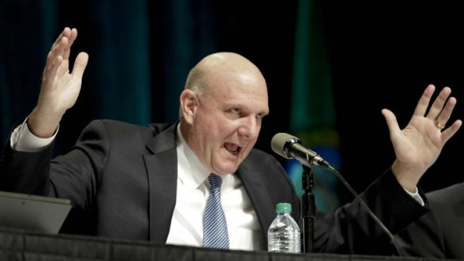 Microsoft Chief Executive Steve Ballmer answers questions at the company's annual shareholder meeting in Bellevue, Washington