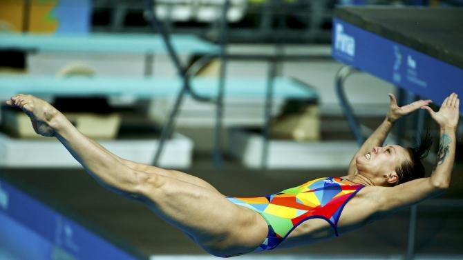 Bazhina of Russia is seen underwater during the mixed team event final at the Aquatics World Championships in Kazan