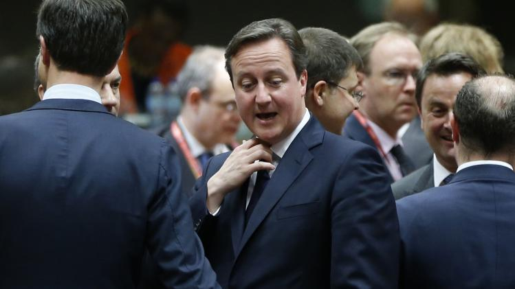 Britain's PM Cameron attends a EU leaders summit in Brussels