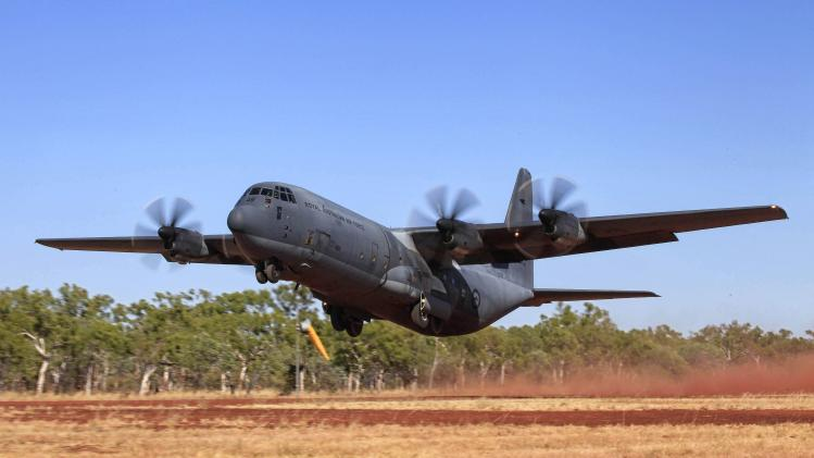 A C-130J Hercules aircraft takes off from Delamere Range Facility in the Northern Territory during Exercise Pitch Black 2014 in this picture released by the Australian Defence Force