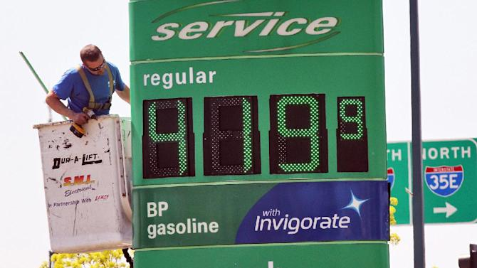 FILE - In this May 15, 2013 file photo, a service person works on sign at BP station at 35E and County Road E in Vadnais Heights, Minn. The average U.S. price of a gallon of gasoline has jumped 11 cents over the past two weeks. The Lundberg Survey of fuel prices released Sunday, May 19, 2013 says the price of a gallon of regular is $3.66. (AP Photo/The Star Tribune, Marlin Levison, File)