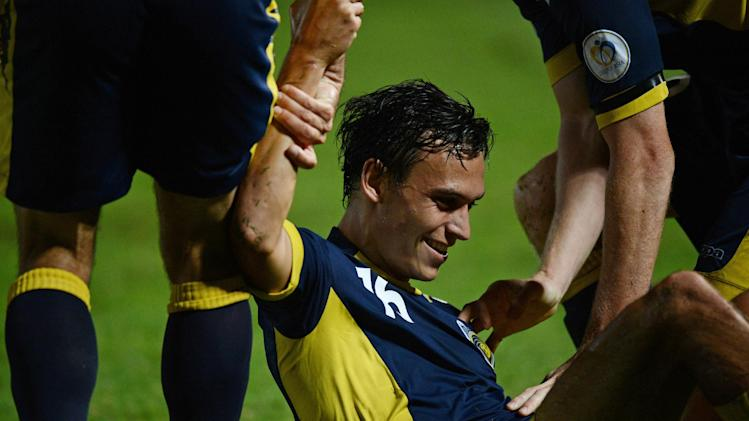 Trent Sainsbury of the Central Coast Mariners during an AFC Champions League match near Sydney on April 3, 2013