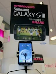 A Samsung Galaxy S3 phone is displayed in a store. Samsung mobile phones remained the most popular in the US with 25.6% of the market, but third-place Apple gained ground to claim 16.3% as of the end of July, according to comScore