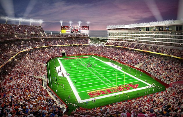 In this artist drawing provided by the San Francisco 49ers,  the proposed 49ers stadium in Santa Clara, Calif. is shown. NFL owners will vote on the sites of the 50th and 51st Super Bowls on Tuesday,