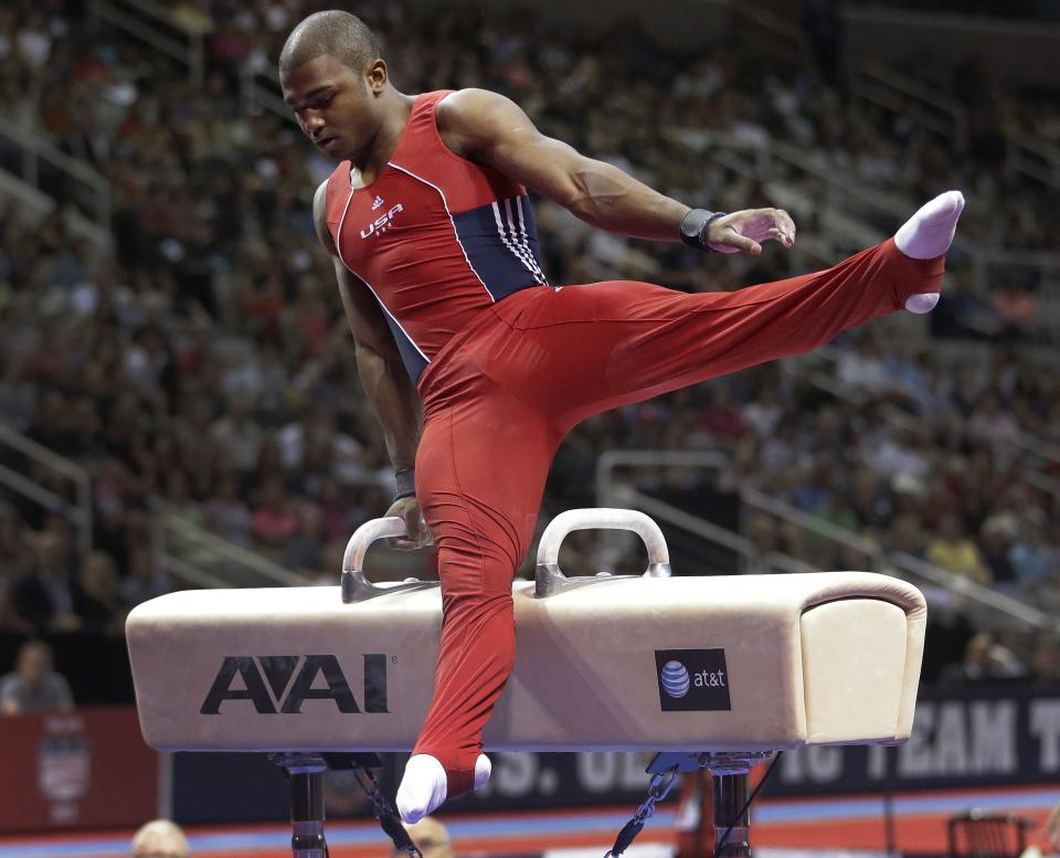 John Orozco competes on the pommel horse during the final round of the men's Olympic gymnastics trials, Saturday, June 30, 2012, in San Jose, Calif. (AP Photo/Jae C. Hong)