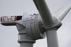 View of a Haliade 150 offshore wind turbine at Alstom's offshore wind site in Le Carnet, on the Loire Estuary, near Saint Nazaire, western France