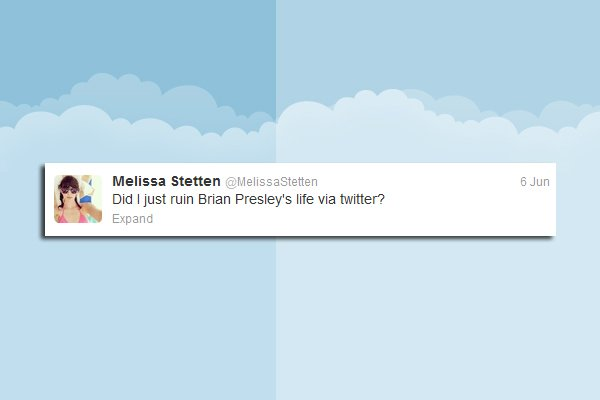 Twitter, Melissa Stetten, Model twittert Anmache