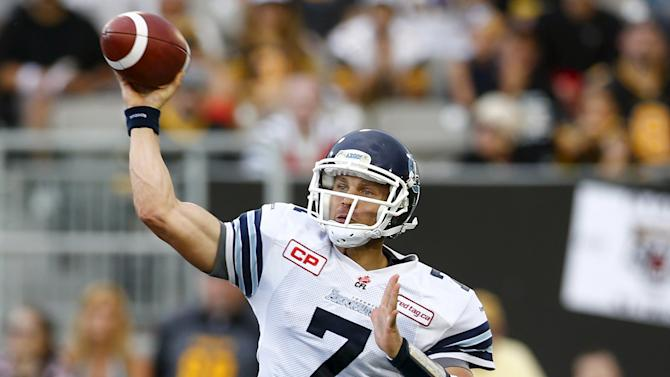 Toronto Argonauts quarterback Harris throws against the Hamilton Tiger-Cats during the first half of their CFL football game in Hamilton