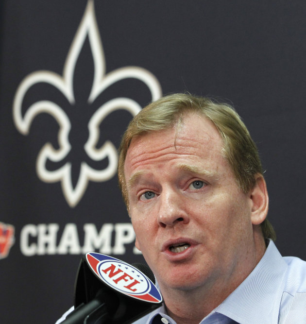 FILE - This Aug. 2, 2010 file photo shows NFL commissioner Roger Goodell speaking during a news conference at the New Orleans Saints' football training facility in Metairie, La. The appeals hearing fo