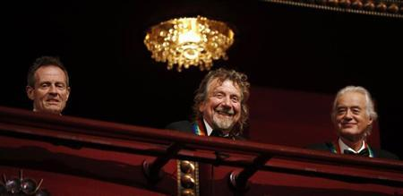 Members of Led Zeppelin are pictured on the balcony of the Kennedy Center as 2012 honorees in Washington