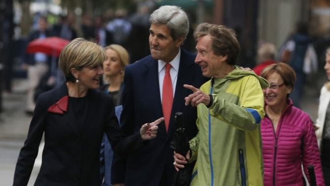 U.S. Secretary of State Kerry, Australian Foreign Minister Bishop and Boston Marathon legend Rogers talk prior to the annual Australia-United States Ministerial Consultations in Boston
