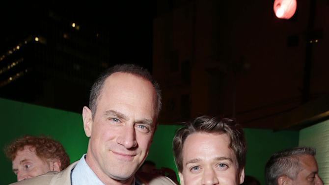 Christopher Meloni and T.R Knight at The Los Angeles Premiere of Warner Bros. Pictures' and Legendary Pictures' 42, on Tuesday, April, 9th, 2013 in Los Angeles. (Photo by Eric Charbonneau/Invision for Warner Bros./AP Images)