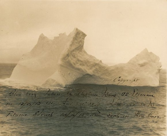 A one-of-a-kind photograph of the iceberg thought to have sunk the 'Titanic' (Image; RR Auctions)