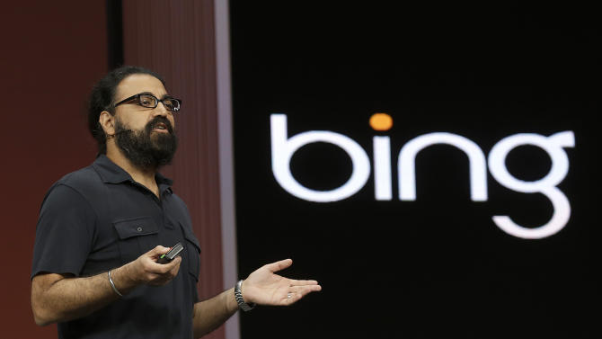 Bing corporate vice president Gurdeep Singh Pall speaks at a Microsoft event in San Francisco, Wednesday, June 26, 2013. Microsoft is using a three-day conference this week to give people a peek into Windows 8.1, a free update that promises to address some of the gripes people have with the latest version of the company's flagship operating system. A preview version of Windows 8.1 was released Wednesday at the start of the Build conference for Microsoft partners and other technology developers. (AP Photo/Jeff Chiu)