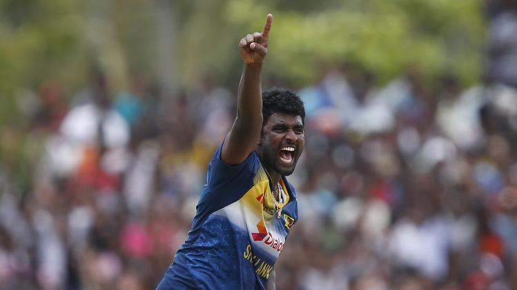 Sri Lanka's Perera appeals for successful wicket for Pakistan's Riaz during their final ODI cricket match in Dambulla