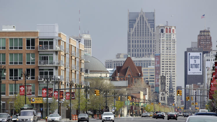 In a photo from Tuesday, April 10, 2012, a view of Midtown is seen looking south on Woodward Ave. in Detroit. A city infamous for its population exodus, joblessness, decay and crime would seem an odd place for an upscale natural and organic grocer. There's no doubt Whole Foods Market Inc. is bucking a trend, but so is the Motor City neighborhood where it plans to open next year. The area known as Midtown is an anomaly in the tough city enduring tougher times. (AP Photo/Carlos Osorio)