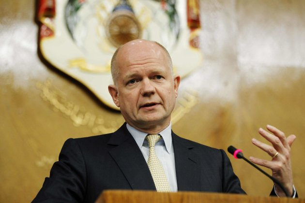 British Foreign Secretary Hague speaks during his joint news conference with Jordanian Foreign Minister Judeh in Amman
