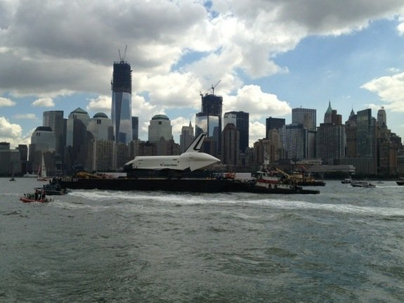 Space Shuttle Enterprise Lands at New York City's Intrepid Museum