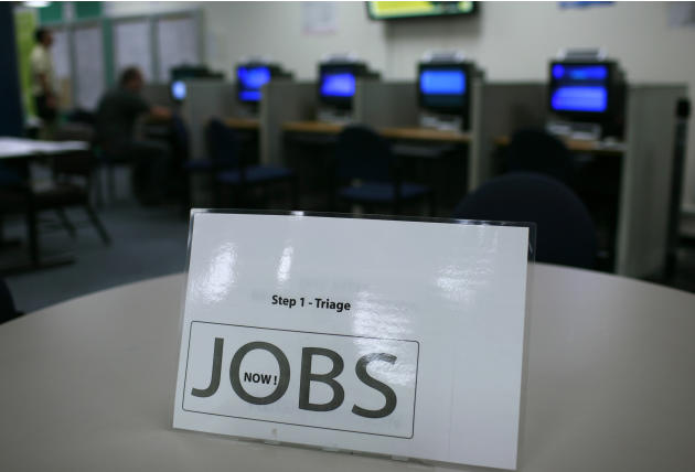 A sign at an information station is shown at the One Stop employment center in San Francisco
