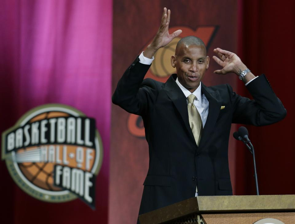 Inductee Reggie Miller speaks during the enshrinement ceremony for the 2012 class of the Naismith Memorial Basketball Hall of Fame at Symphony Hall in Springfield, Mass. Friday, Sept. 7, 2012. (AP Photo/Elise Amendola)