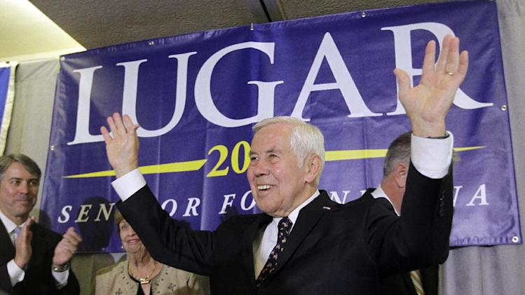 Sen. Richard Lugar reacts after giving a speech Tuesday, May 8, 2012, in Indianapolis. Lugar lost his Republican Senate primary on Tuesday to state Treasurer Richard Mourdock.  (AP Photo/Darron Cummings)