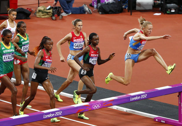 Russia's Yulia Zaripova races to win the women's 3000m steeplechase final at the London 2012 Olympic Games