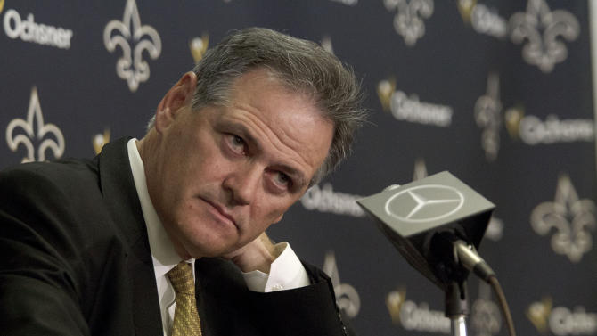 FILE - This April 26, 2012 file photo shows New Orleans Saints general manager Mickey Loomis during a media availability about the NFL draft at the team's training facility in Metairie, La. His eight-game suspension over, Loomis returns to work Tuesday, Nov. 6, 2012, for a Saints franchise that needs to resolve complications with suspended coach Sean Payton's contract. (AP Photo/Matthew Hinton, File)