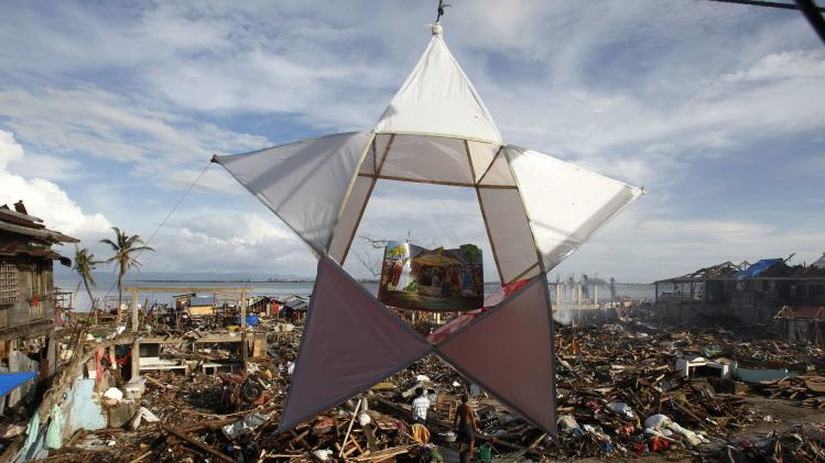 A Christmas lantern hangs in the ravaged town of Magallanes, Tacloban city
