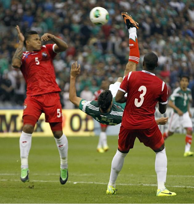 In this Oct. 11, 2013 file photo, Mexico's Raul Jimenez bicycle kicks to score against Panama at a 2014 World Cup qualifying match, in Mexico City. Mexico needed the spectacular goal that came in
