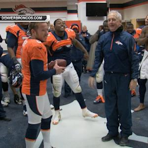 Denver Broncos kicker Matt Prater gets the game ball