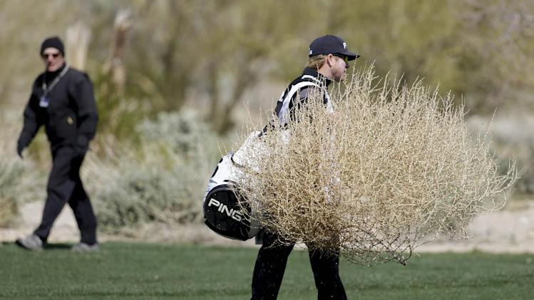 Hunter Mahan's caddie removes a tumbleweed blowing across the fifth fairway in the final round of play against Matt Kuchar during the Match Play Championship golf tournament, Sunday, Feb. 24, 2013, in Marana, Ariz. Kuchar won 2 and 1. (AP Photo/Ted S. Warren)