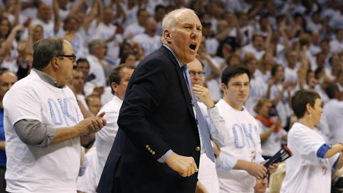 San Antonio Spurs coach Gregg Popovich follows action against the Oklahoma City Thunder in the second half of Game 6 of the Western Conference finals NBA basketball playoff series in Oklahoma City, Saturday, May 31, 2014