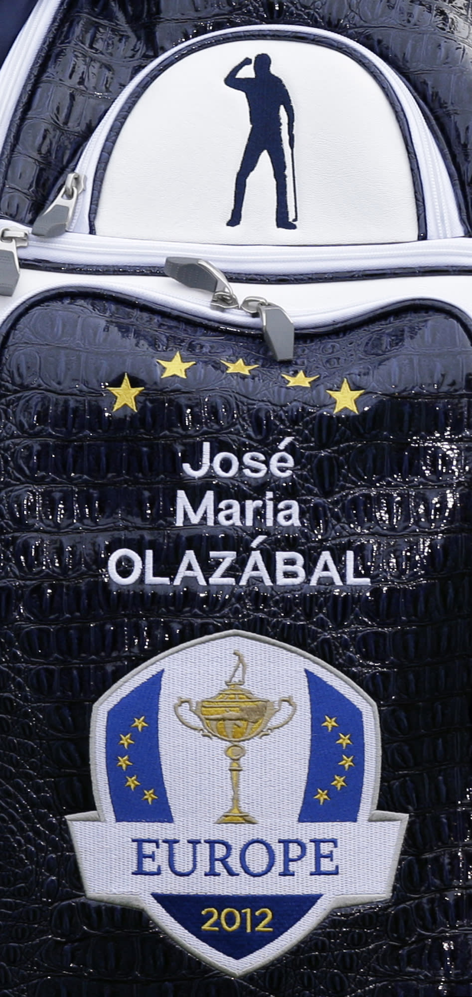 An image of Seve Ballesteros is seen on the bag of European team captain Jose Maria Olazabal during the Ryder Cup PGA golf tournament Tuesday, Sept. 25, 2012, at the Medinah Country Club in Medinah, Ill. (AP Photo/David J. Phillip)