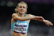 Kazakhstan&#39;s Olga Rypakova competes in the women&#39;s triple jump final at the athletics event during the London 2012 Olympic Games in London. Rypakova won gold