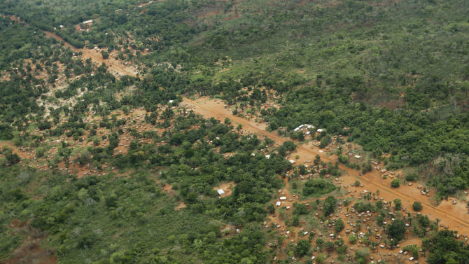 The town of Obo is seen from the air in the Central African Republic, Sunday, April 29, 2012. Obo was the first place in the Central African Republic that Joseph Kony's Lord's Resistance Army (LRA) attacked in 2008 and today it's one of four forward operating locations where U.S. special forces have paired up with local troops and Ugandan soldiers to seek out Kony. (AP Photo/Ben Curtis)