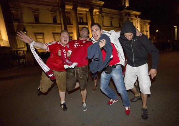 Bayern Munich fans gather at Trafalgar in London after their team won 2-1 against Borussia Dortmund during the Champions League Final match at Wembley Stadium