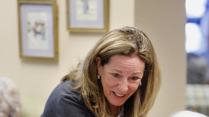 1st Congressional District Democratic candidate Elizabeth Colbert Busch smiles while meeting senior citizen voters at The Canterbury House Monday, May 6, 2013, in Charleston S.C.  Colbert Busch is making her last campaign push against her Republican opponent, Mark Sanford, before election day on Tuesday. May 7. The two are running in a special election for the state's vacant 1st District congressional seat. (AP Photo/Mic Smith)