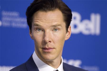 "Benedict Cumberbatch attends a news conference for ""The Fifth Estate"" at the Toronto International Film Festival"