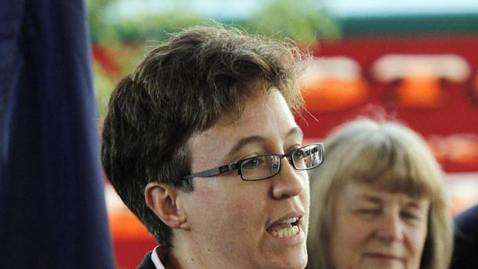 Rep. Tina Kotek, D-Portland, speaks at the signing of Oregon health care bills, House Bill 3650 and Senate Bill 99, in Portland, Ore., July 1, 2011.  Oregon House Democrats are expected to select Kotek as the nation's first openly lesbian speaker today, another milestone following an election that brought a series of victories to the gay community.(AP Photo/Don Ryan)
