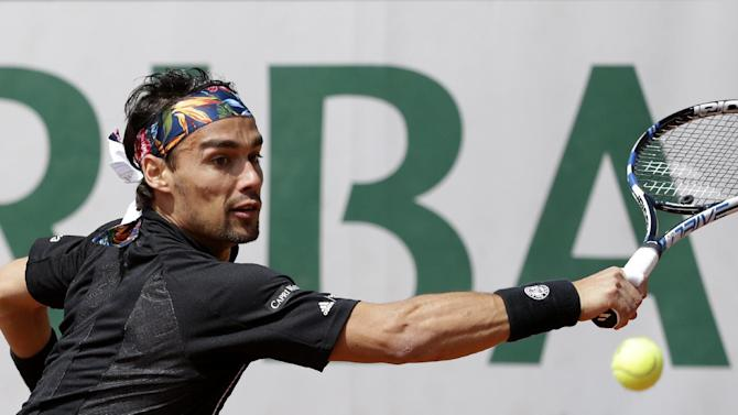 Italy's Fabio Fognini returns the ball to France's Benoit Paire during their second round match of the French Open tennis tournament at the Roland Garros stadium, Wednesday, May 27, 2015 in Paris. (AP Photo/Thibault Camus)