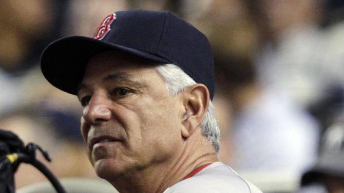 Boston Red Sox manager Bobby Valentine watches his team play the New York Yankees during the fourth inning of a baseball game, Wednesday, Oct. 3, 2012, in New York. (AP Photo/Frank Franklin II)