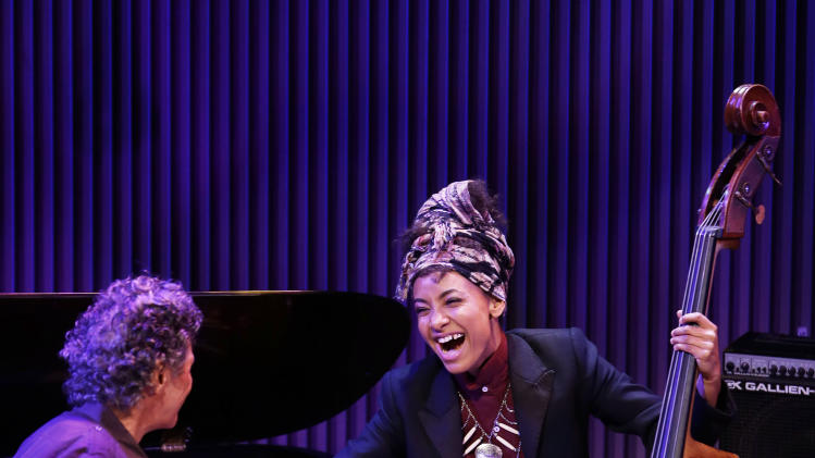 Chick Corea, left, greets bassist Esperanza Spalding, right, after they played together during the opening night concert of the SFJAZZ Center Wednesday, Jan. 23, 2013 in San Francisco. The 700-seat, specially designed concert hall nestled in the heart of the city's arts district attracted a crowd of hundreds with a high-energy, inaugural celebration emceed by Bill Cosby. Billed as the first freestanding building in the West built for jazz performance and education, the center opened Wednesday after raising more than $60 million over more than a decade to build a home for SFJAZZ, the nonprofit that puts on the city's jazz festival. (AP Photo/Eric Risberg)