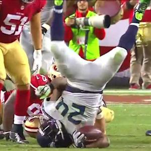 Seattle Seahawks running back Marshawn Lynch does his best kicking and screaming impression