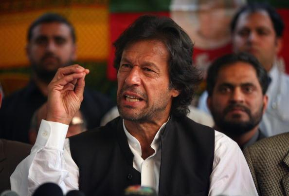 ISLAMABAD, PAKISTAN - NOVEMBER 22: Pakistani opposition politician and cricket legend, Imran Khan, speaks out against President Pervez Musharraf and emergency rule at a press conference November 22, 2