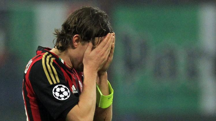 AC Milan's Montolivo reacts after receiving a red card during their Champions League soccer match against Ajax Amsterdam in Milan